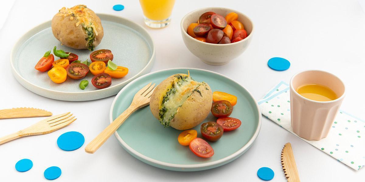 Simons Ofenkartoffel mit Spinat