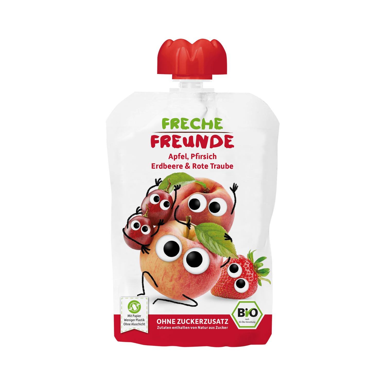 Quetschie Apfel, Pfirsich, Erdbeere & rote Traube