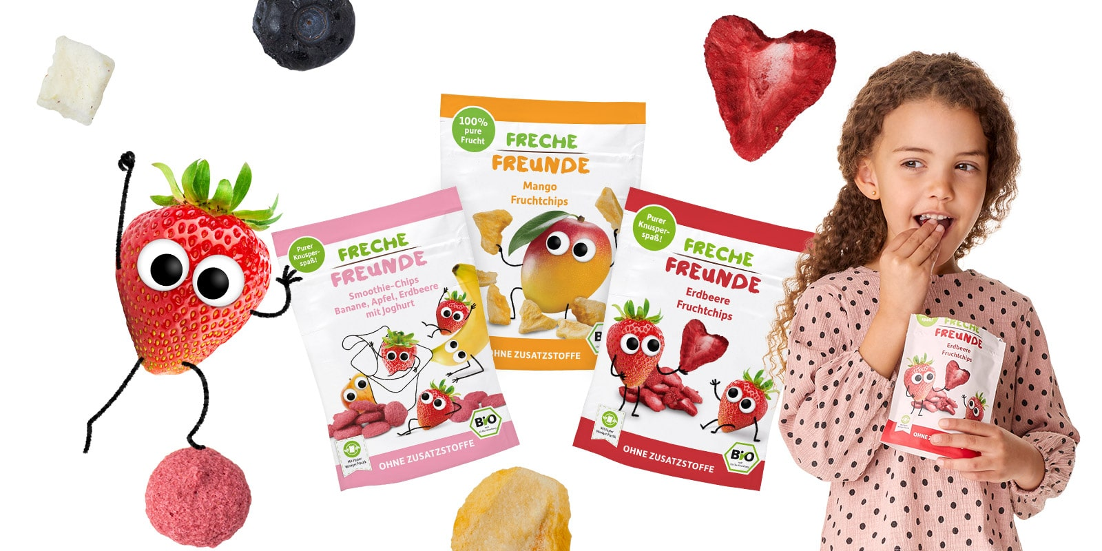 Freche Freunde Freche Freunde Gefriergetrocknete Früchte BannerFruchtchips_l-min
